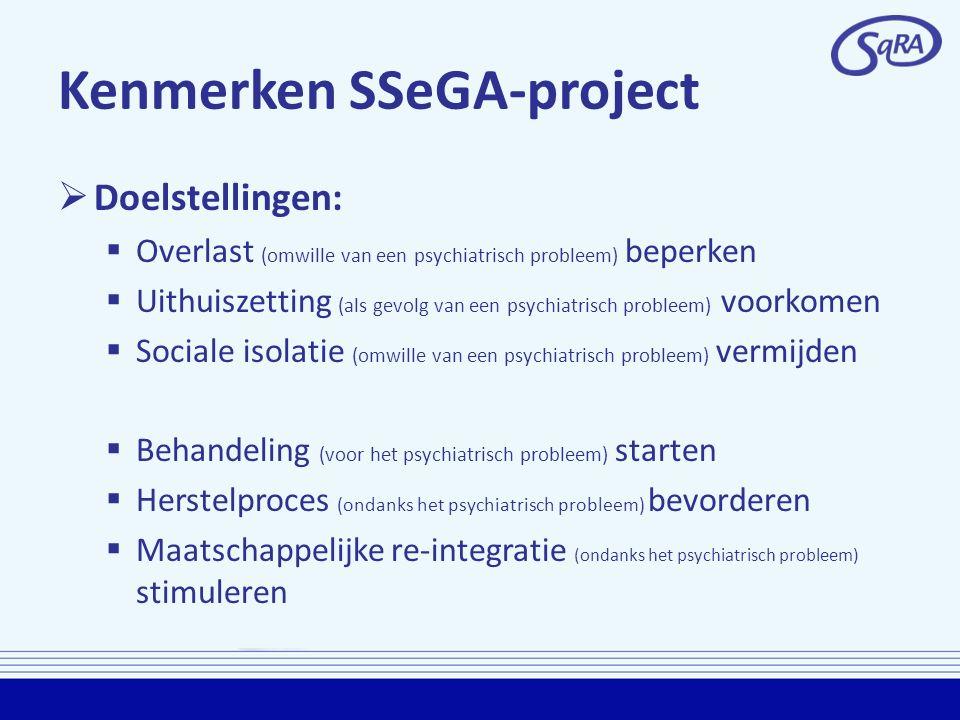 Kenmerken SSeGA-project  Doelstellingen:  Overlast (omwille van een psychiatrisch probleem) beperken  Uithuiszetting (als gevolg van een psychiatri