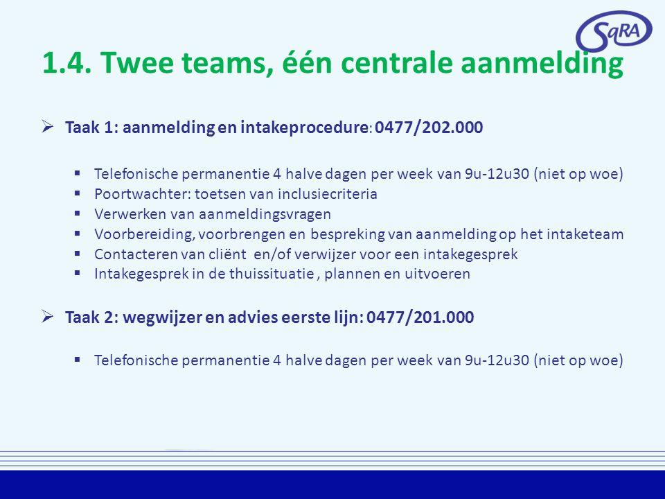 1.4. Twee teams, één centrale aanmelding  Taak 1: aanmelding en intakeprocedure : 0477/202.000  Telefonische permanentie 4 halve dagen per week van