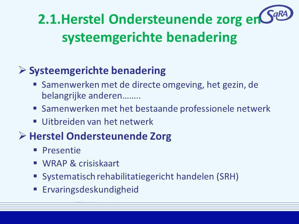2.1.Herstel Ondersteunende zorg en systeemgerichte benadering  Systeemgerichte benadering  Samenwerken met de directe omgeving, het gezin, de belang
