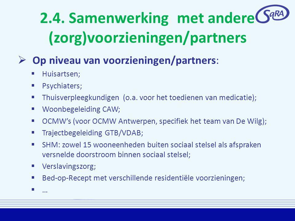 2.4. Samenwerking met andere (zorg)voorzieningen/partners  Op niveau van voorzieningen/partners:  Huisartsen;  Psychiaters;  Thuisverpleegkundigen