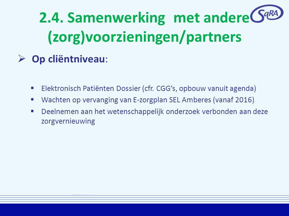 2.4. Samenwerking met andere (zorg)voorzieningen/partners  Op cliëntniveau:  Elektronisch Patiënten Dossier (cfr. CGG's, opbouw vanuit agenda)  Wac
