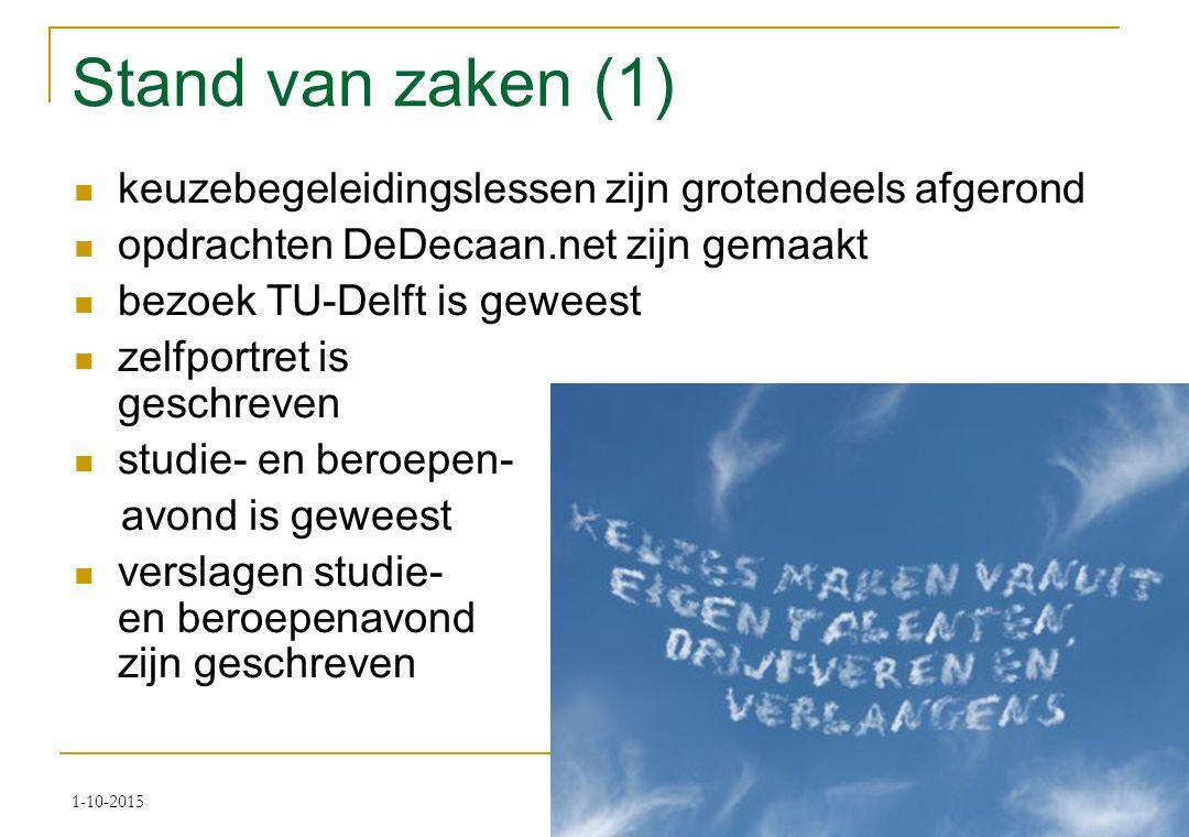 Stand van zaken (1) keuzebegeleidingslessen zijn grotendeels afgerond opdrachten DeDecaan.net zijn gemaakt bezoek TU-Delft is geweest zelfportret is geschreven studie- en beroepen- avond is geweest verslagen studie- en beroepenavond zijn geschreven 1-10-2015