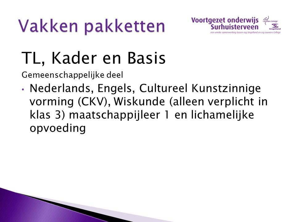 TL, Kader en Basis Gemeenschappelijke deel Nederlands, Engels, Cultureel Kunstzinnige vorming (CKV), Wiskunde (alleen verplicht in klas 3) maatschappi