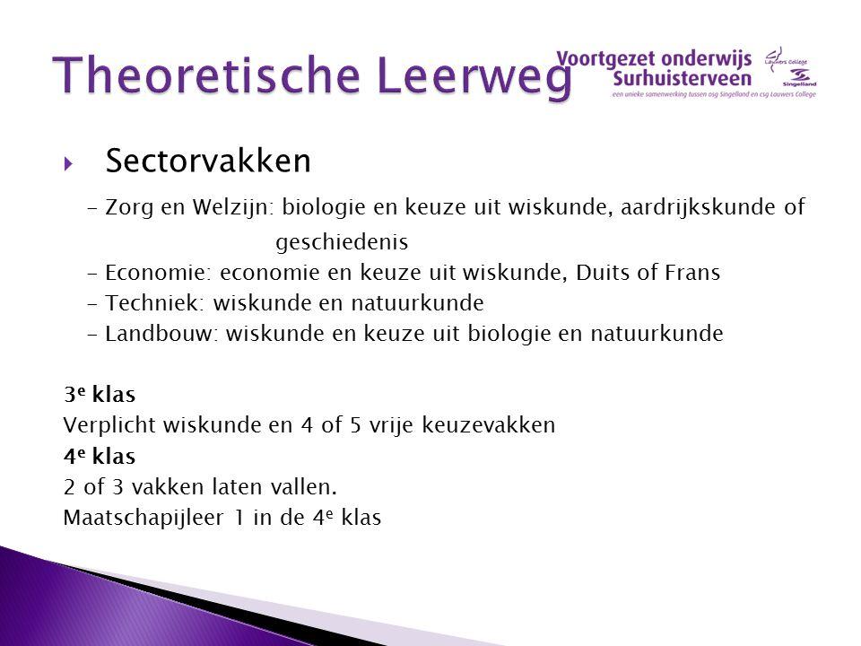  Sectorvakken - Zorg en Welzijn: biologie en keuze uit wiskunde, aardrijkskunde of geschiedenis - Economie: economie en keuze uit wiskunde, Duits of