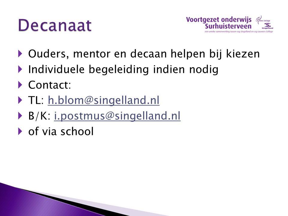  Ouders, mentor en decaan helpen bij kiezen  Individuele begeleiding indien nodig  Contact:  TL: h.blom@singelland.nlh.blom@singelland.nl  B/K: i