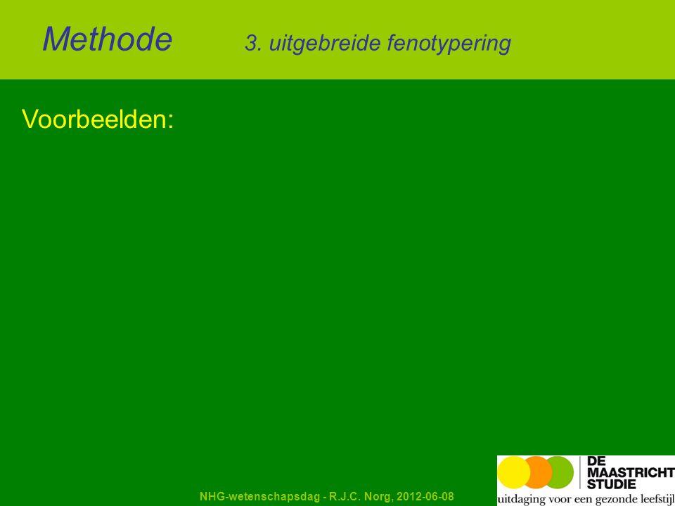 Kapellerput NHG-wetenschapsdag - R.J.C. Norg, 2012-06-08 Voorbeelden: Methode 3. uitgebreide fenotypering