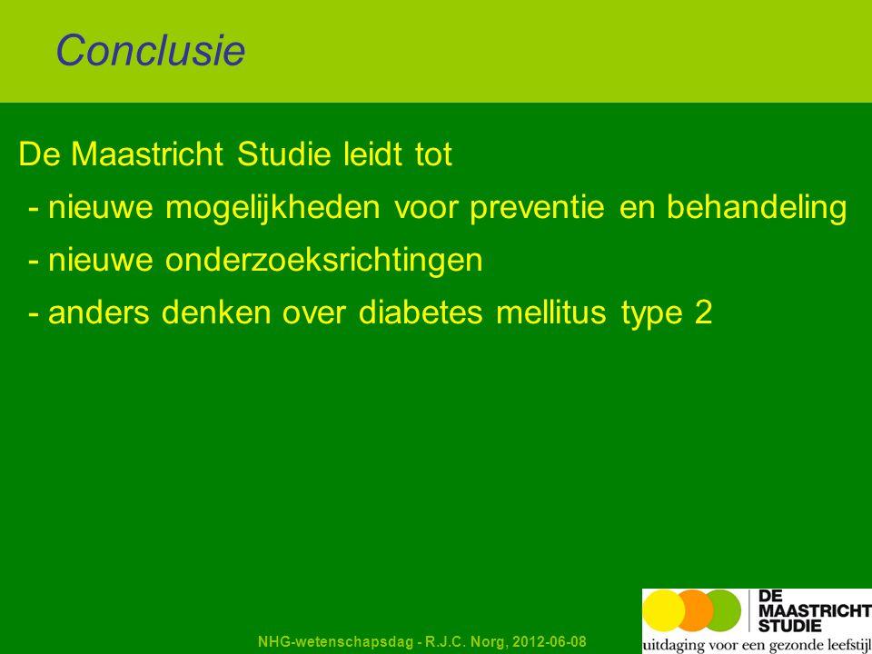Kapellerput NHG-wetenschapsdag - R.J.C. Norg, 2012-06-08 De Maastricht Studie leidt tot - nieuwe mogelijkheden voor preventie en behandeling - nieuwe