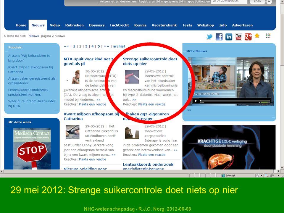 NHG-wetenschapsdag - R.J.C. Norg, 2012-06-08 29 mei 2012: Strenge suikercontrole doet niets op nier