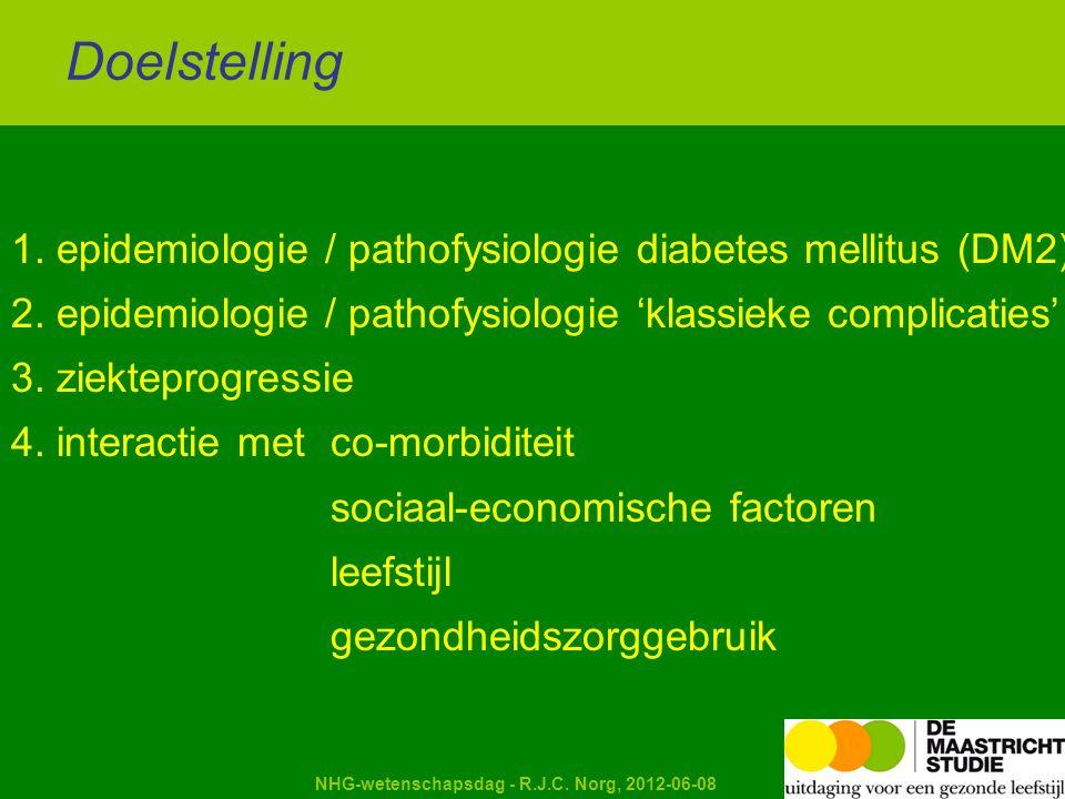 Kapellerput NHG-wetenschapsdag - R.J.C. Norg, 2012-06-08 1. epidemiologie / pathofysiologie diabetes mellitus (DM2) 2. epidemiologie / pathofysiologie