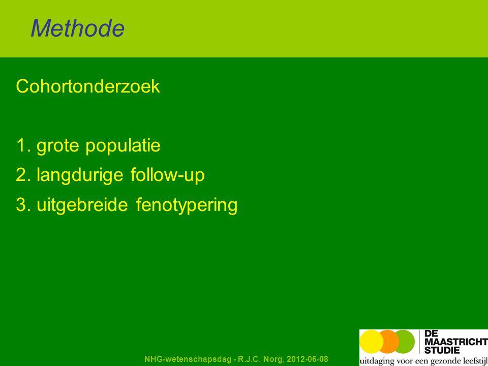 Kapellerput NHG-wetenschapsdag - R.J.C. Norg, 2012-06-08 Cohortonderzoek 1. grote populatie 2. langdurige follow-up 3. uitgebreide fenotypering Method