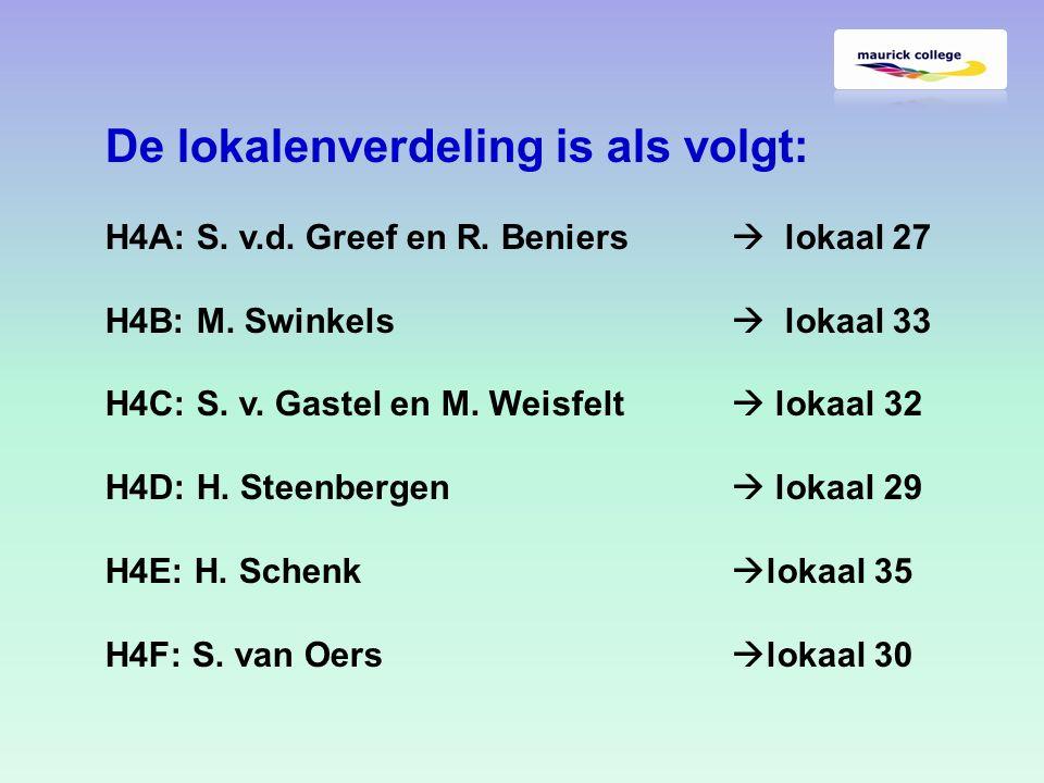 De lokalenverdeling is als volgt: H4A: S. v.d. Greef en R.