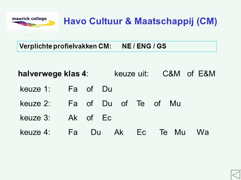 halverwege klas 4:keuze uit:C&M of E&M keuze 1:Fa of Du keuze 2:Fa of Du of Te of Mu keuze 3:Ak of Ec keuze 4:Fa Du Ak Ec Te Mu Wa Havo Cultuur & Maatschappij (CM) Verplichte profielvakken CM: NE / ENG / GS