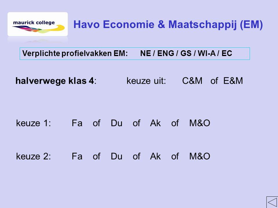 halverwege klas 4:keuze uit:C&M of E&M keuze 1:Fa of Du of Ak of M&O keuze 2:Fa of Du of Ak of M&O Havo Economie & Maatschappij (EM) Verplichte profielvakken EM: NE / ENG / GS / WI-A / EC