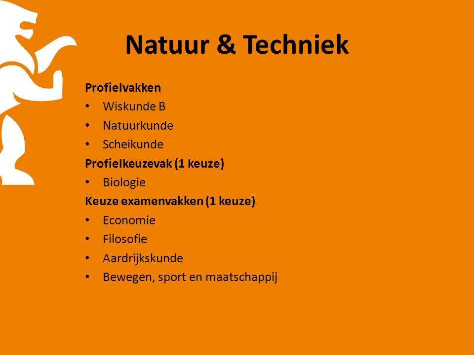 Natuur & Techniek Profielvakken Wiskunde B Natuurkunde Scheikunde Profielkeuzevak (1 keuze) Biologie Keuze examenvakken (1 keuze) Economie Filosofie Aardrijkskunde Bewegen, sport en maatschappij