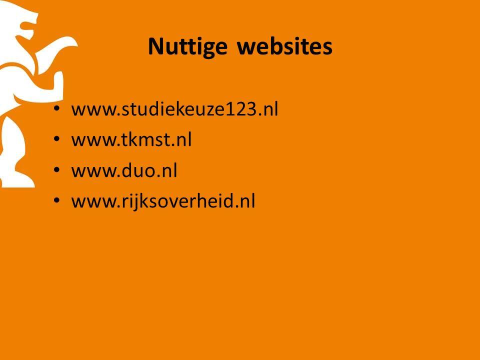 Nuttige websites www.studiekeuze123.nl www.tkmst.nl www.duo.nl www.rijksoverheid.nl