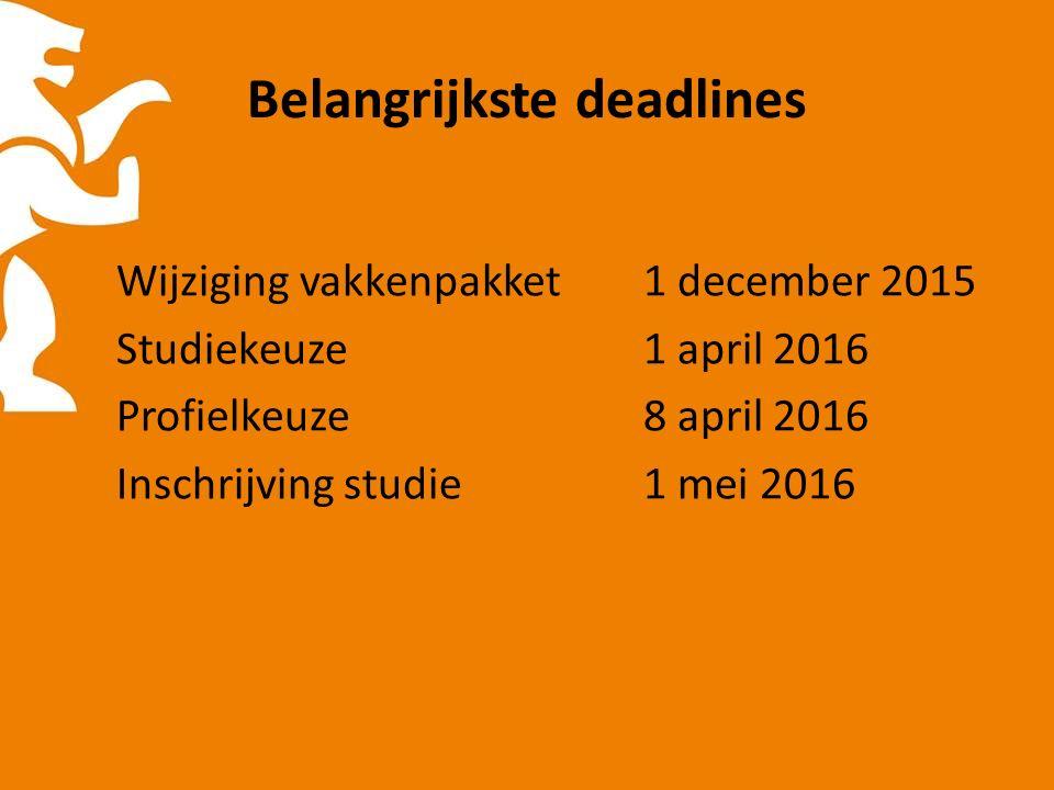 Belangrijkste deadlines Wijziging vakkenpakket1 december 2015 Studiekeuze1 april 2016 Profielkeuze8 april 2016 Inschrijving studie1 mei 2016