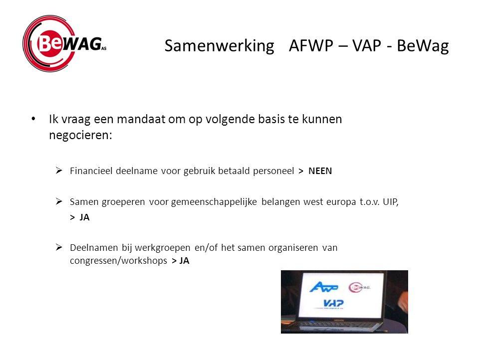 Samenwerking AFWP – VAP - BeWag Ik vraag een mandaat om op volgende basis te kunnen negocieren:  Financieel deelname voor gebruik betaald personeel >