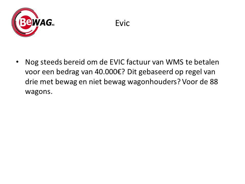 Evic Nog steeds bereid om de EVIC factuur van WMS te betalen voor een bedrag van 40.000€? Dit gebaseerd op regel van drie met bewag en niet bewag wago