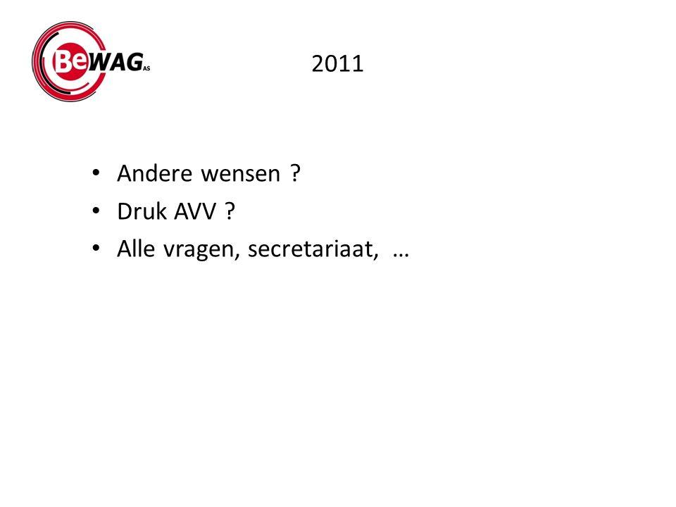 2011 Andere wensen ? Druk AVV ? Alle vragen, secretariaat, …