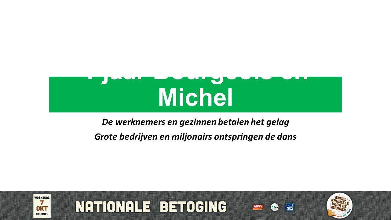 1 jaar Bourgeois en Michel De werknemers en gezinnen betalen het gelag Grote bedrijven en miljonairs ontspringen de dans