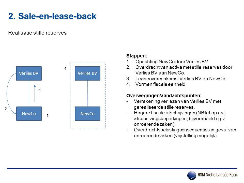 2. Sale-en-lease-back Realisatie stille reserves NewCo Stappen: 1.Oprichting NewCo door Verlies BV 2.Overdracht van activa met stille reserves door Ve