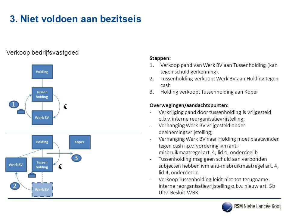 3. Niet voldoen aan bezitseis Verkoop bedrijfsvastgoed Stappen: 1.Verkoop pand van Werk BV aan Tussenholding (kan tegen schuldigerkenning). 2.Tussenho