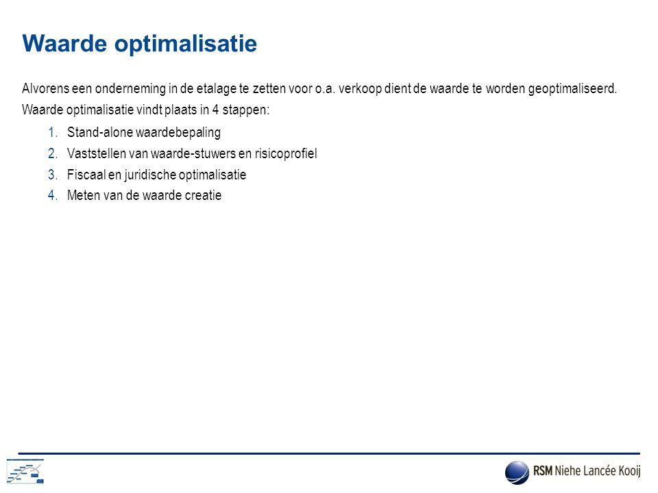 Waarde optimalisatie Alvorens een onderneming in de etalage te zetten voor o.a. verkoop dient de waarde te worden geoptimaliseerd. Waarde optimalisati