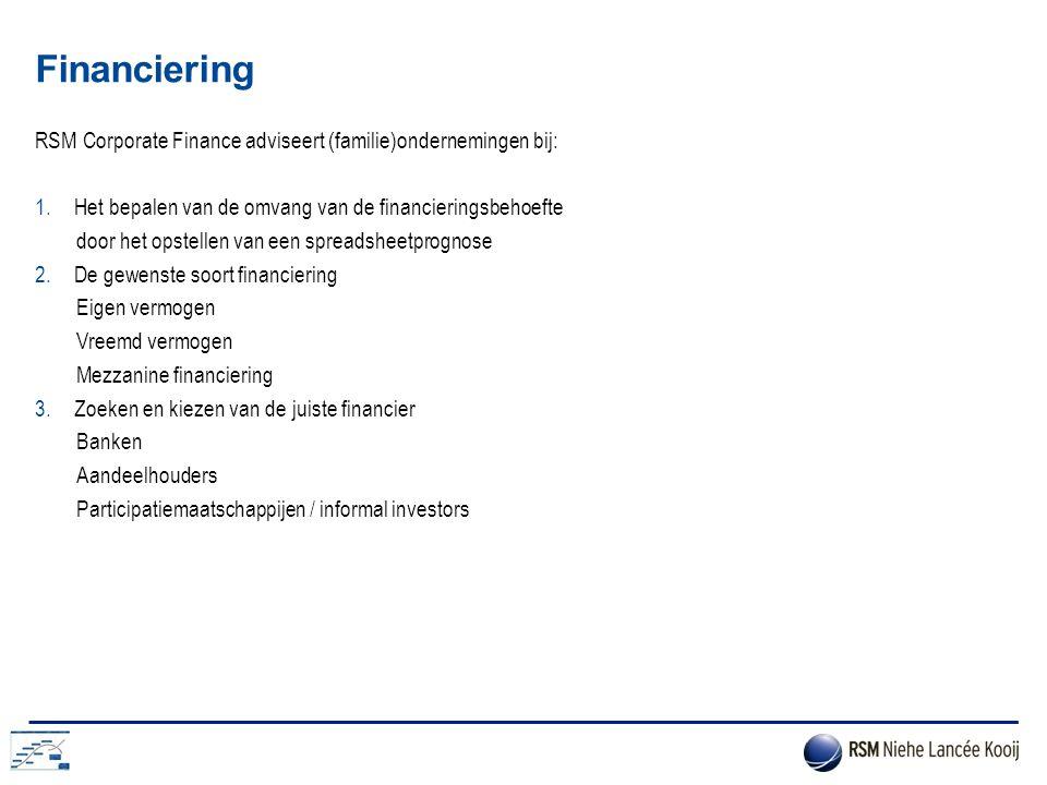 Financiering RSM Corporate Finance adviseert (familie)ondernemingen bij: 1.Het bepalen van de omvang van de financieringsbehoefte door het opstellen v