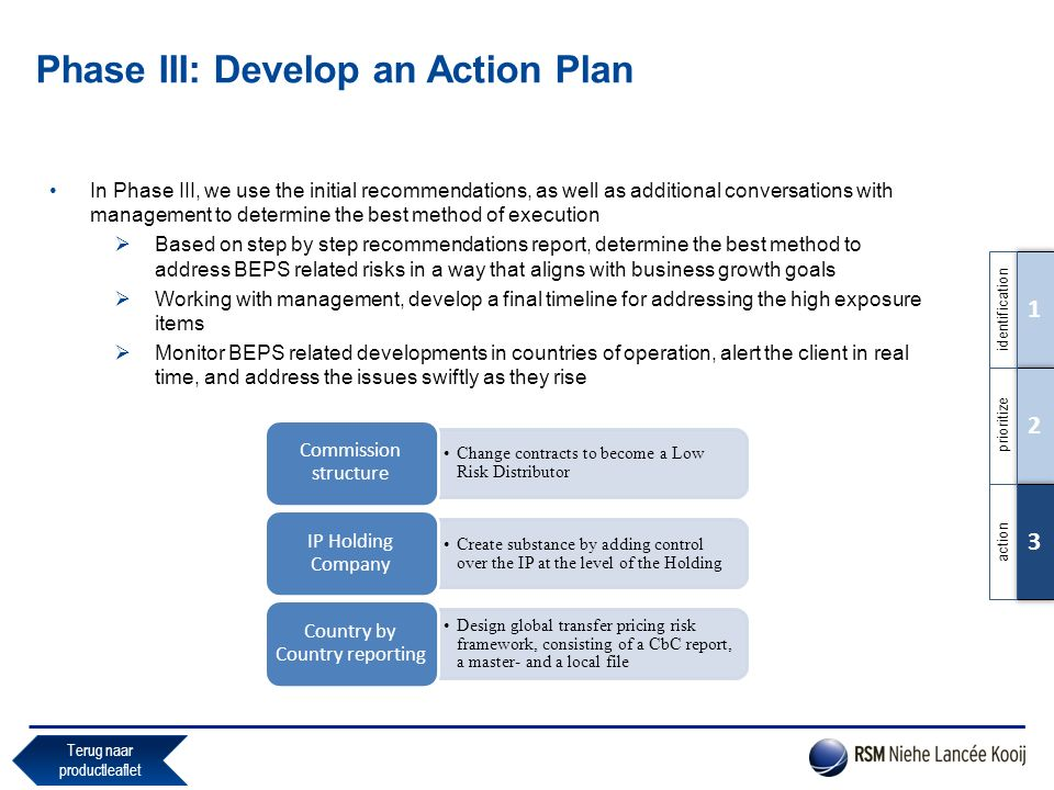 Phase III: Develop an Action Plan In Phase III, we use the initial recommendations, as well as additional conversations with management to determine t
