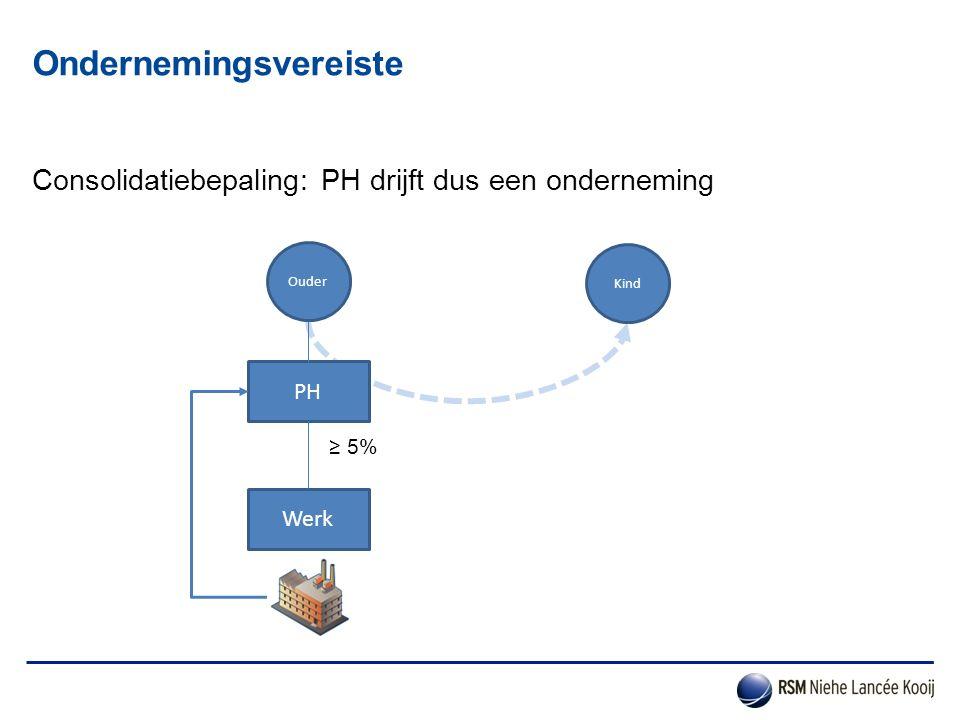 Consolidatiebepaling: PH drijft dus een onderneming Ondernemingsvereiste PH Werk Ouder Kind ≥ 5%