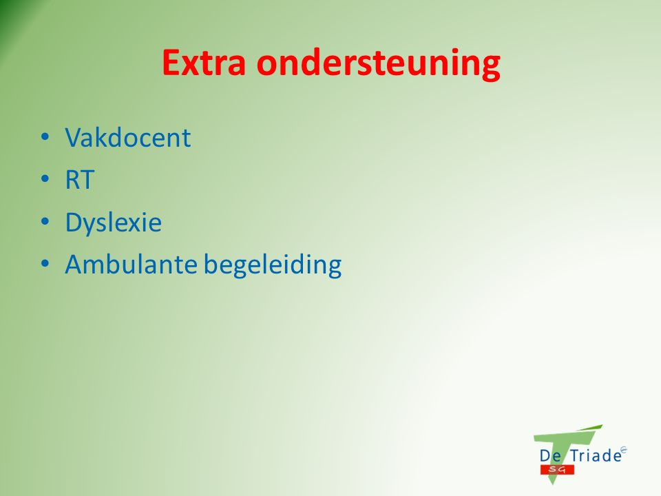 Extra ondersteuning Vakdocent RT Dyslexie Ambulante begeleiding
