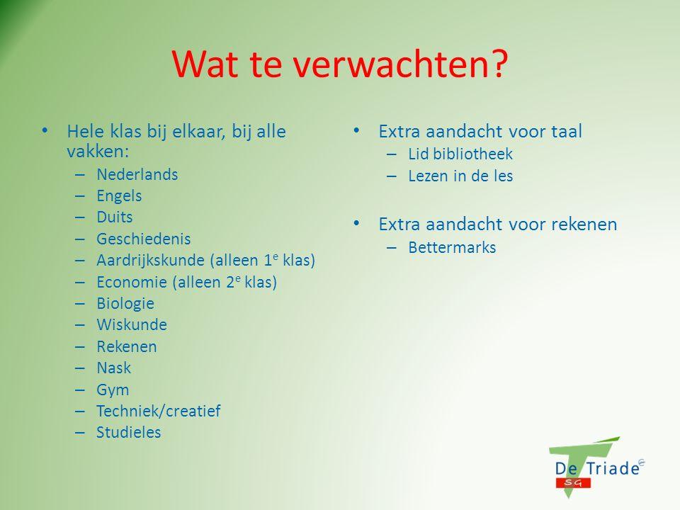 Wat te verwachten? Hele klas bij elkaar, bij alle vakken: – Nederlands – Engels – Duits – Geschiedenis – Aardrijkskunde (alleen 1 e klas) – Economie (