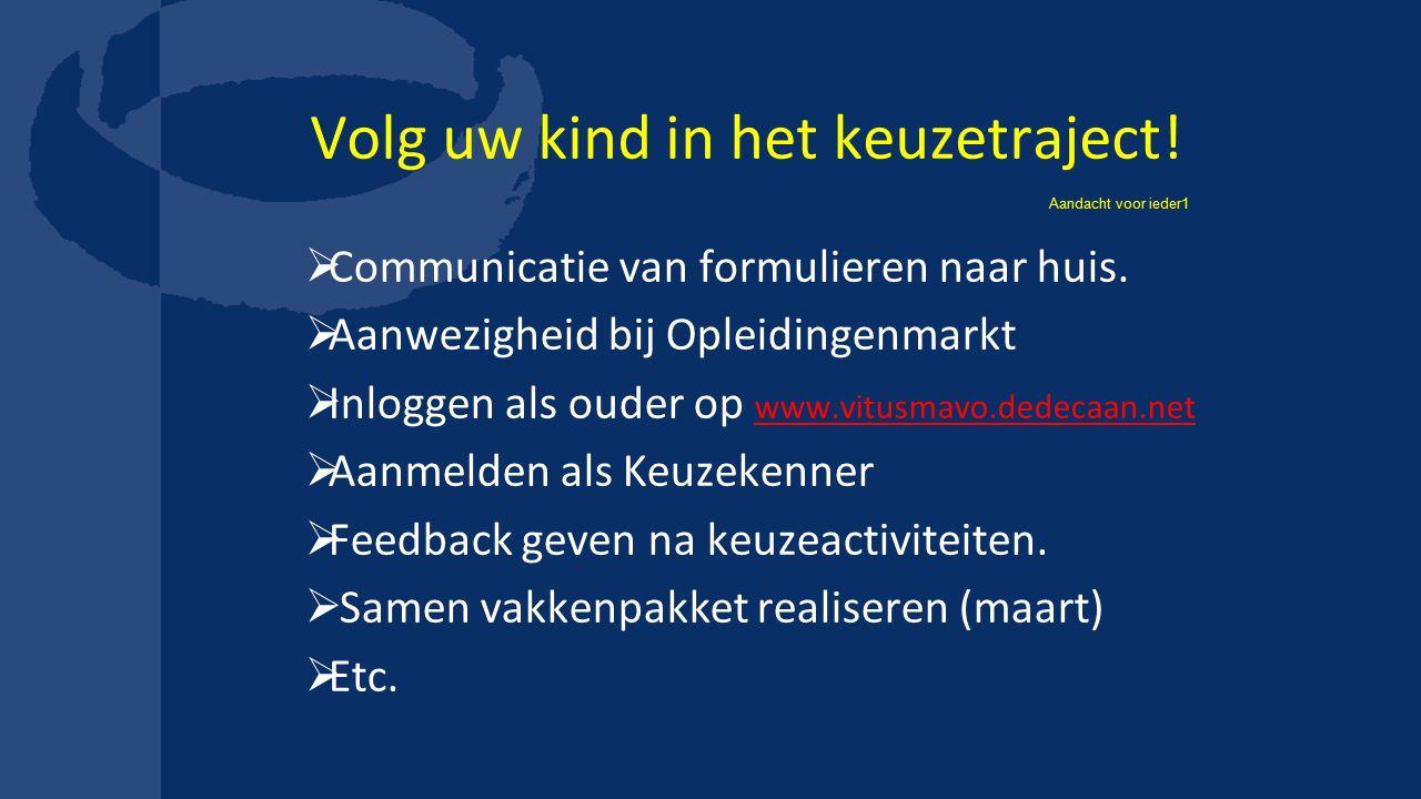 Volg uw kind in het keuzetraject!  Communicatie van formulieren naar huis.  Aanwezigheid bij Opleidingenmarkt  Inloggen als ouder op www.vitusmavo.