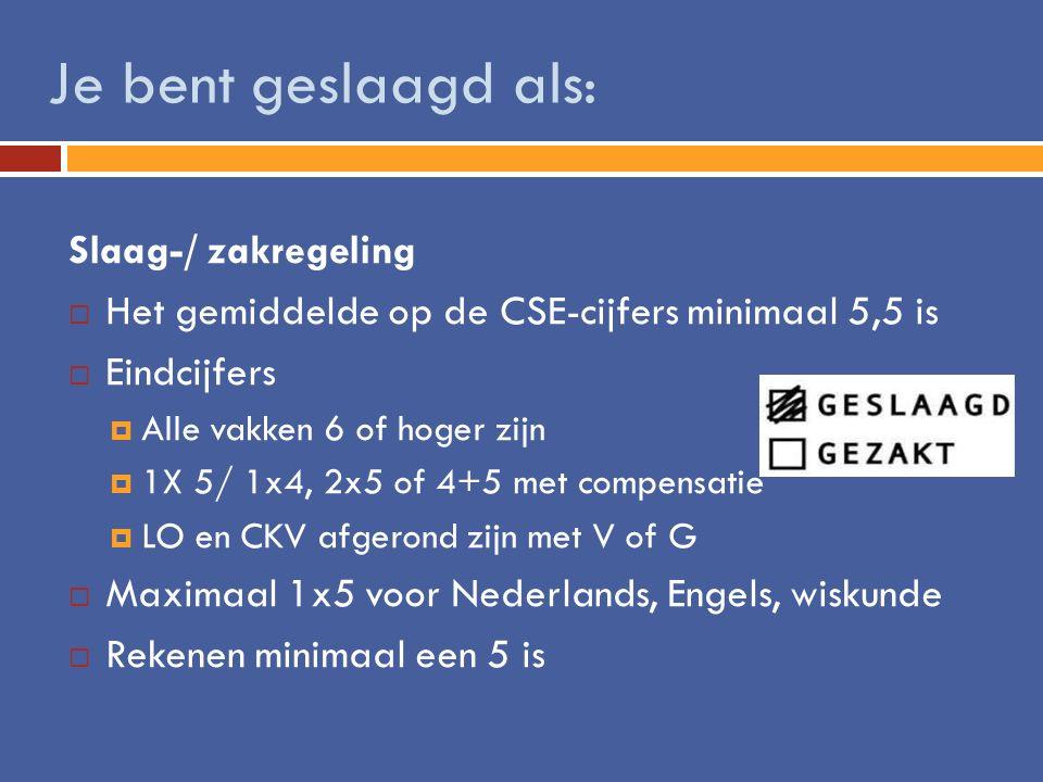 Slaag-/ zakregeling  Het gemiddelde op de CSE-cijfers minimaal 5,5 is  Eindcijfers  Alle vakken 6 of hoger zijn  1X 5/ 1x4, 2x5 of 4+5 met compens