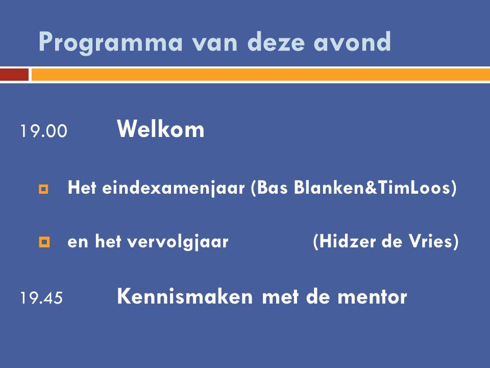 Programma van deze avond 19.00 Welkom  Het eindexamenjaar (Bas Blanken&TimLoos)  en het vervolgjaar (Hidzer de Vries) 19.45 Kennismaken met de mento