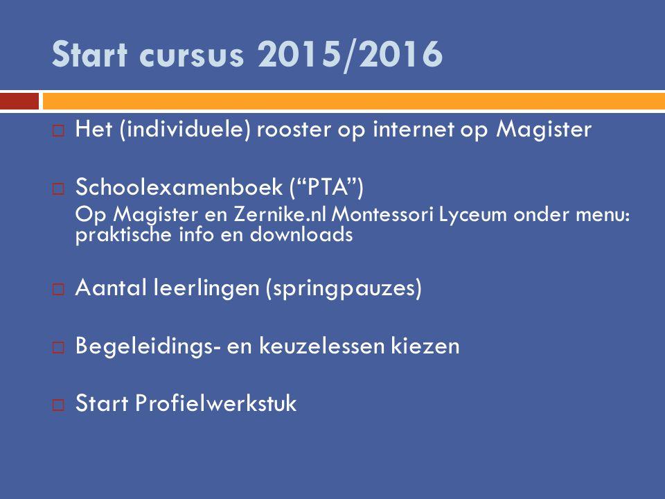 """Start cursus 2015/2016  Het (individuele) rooster op internet op Magister  Schoolexamenboek (""""PTA"""") Op Magister en Zernike.nl Montessori Lyceum onde"""