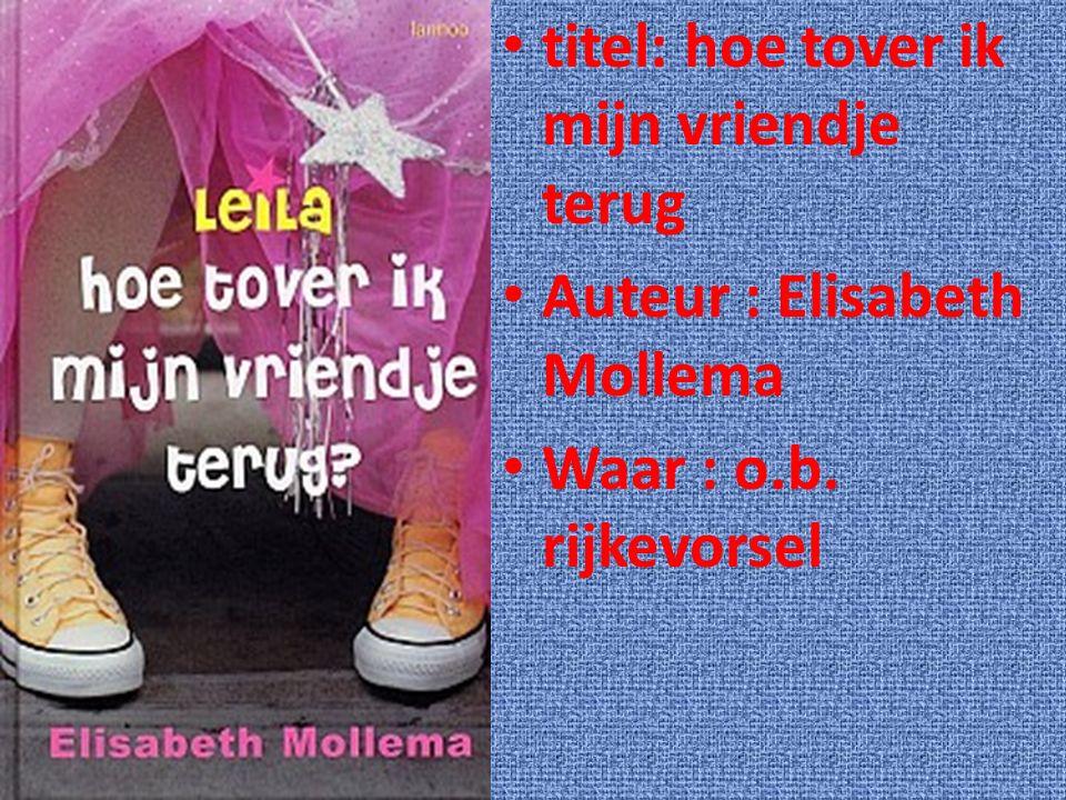 titel: hoe tover ik mijn vriendje terug Auteur : Elisabeth Mollema Waar : o.b. rijkevorsel