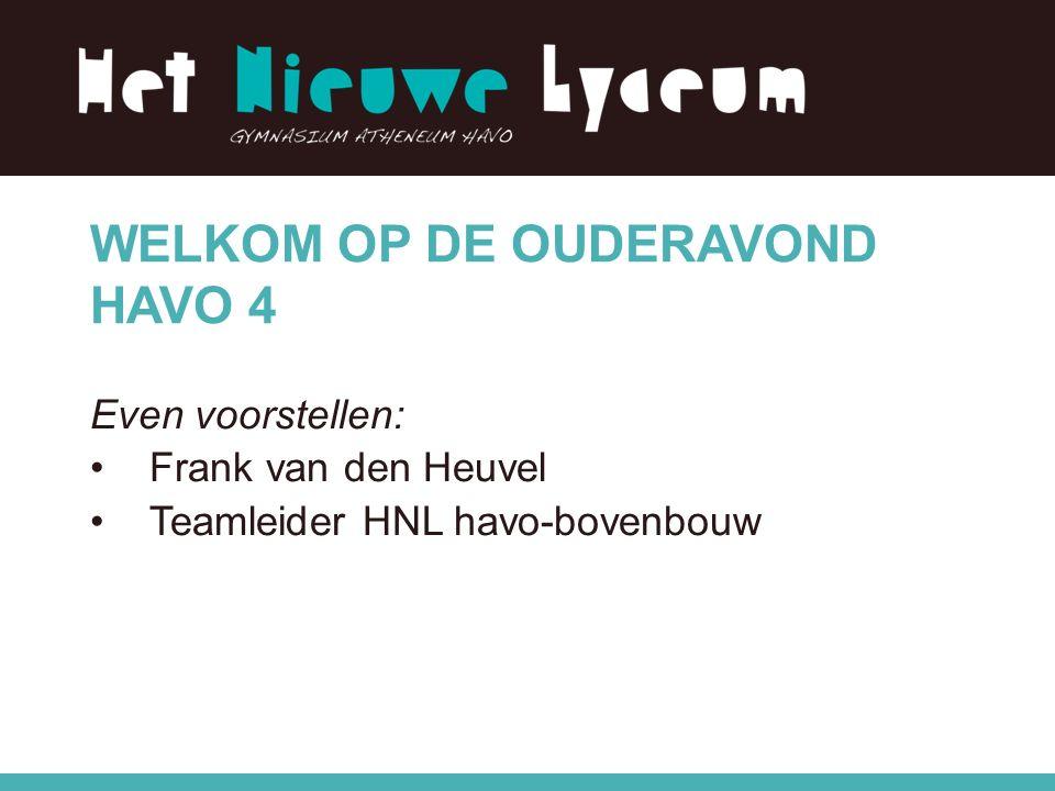 WELKOM OP DE OUDERAVOND HAVO 4 Even voorstellen: Frank van den Heuvel Teamleider HNL havo-bovenbouw
