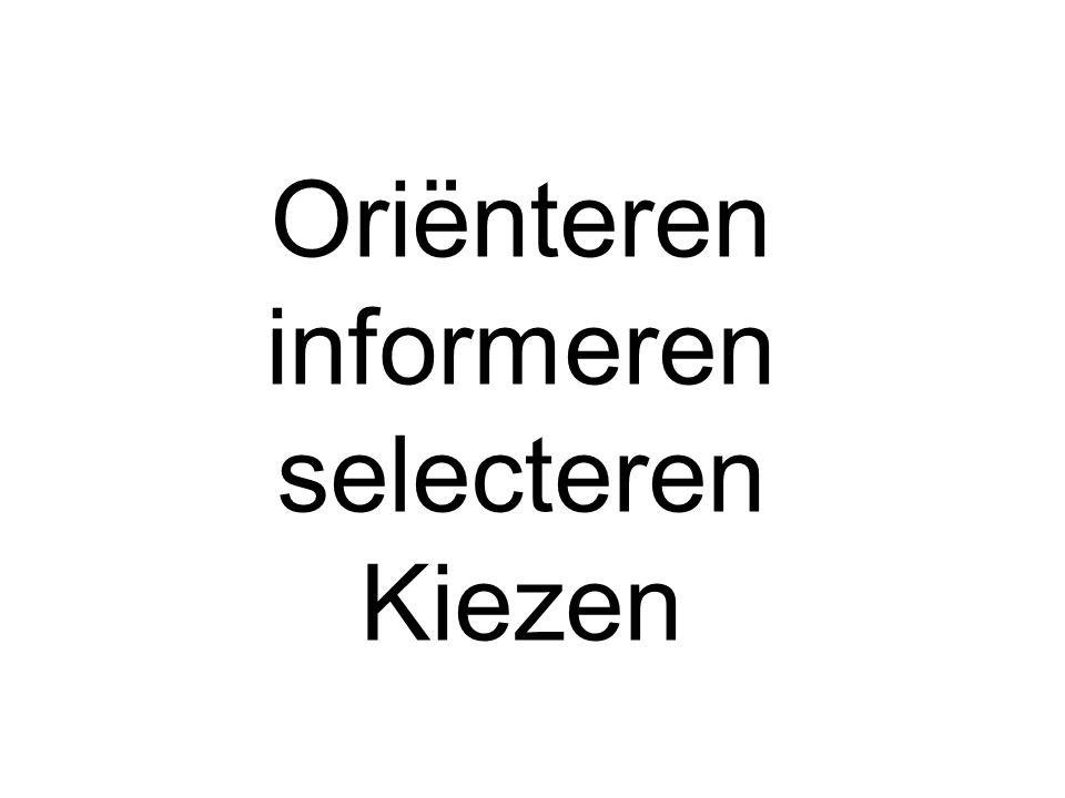 Oriënteren informeren selecteren Kiezen
