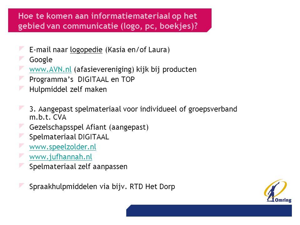 Hoe te komen aan informatiemateriaal op het gebied van communicatie (logo, pc, boekjes).