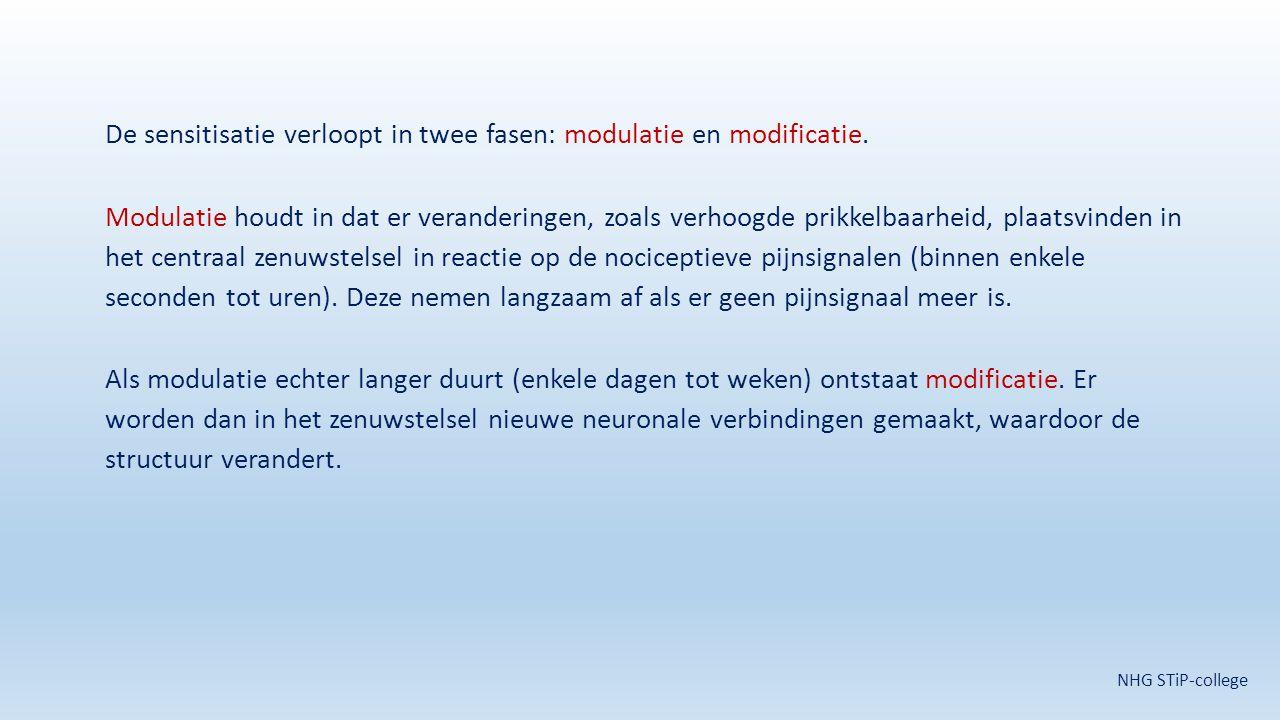 De sensitisatie verloopt in twee fasen: modulatie en modificatie. Modulatie houdt in dat er veranderingen, zoals verhoogde prikkelbaarheid, plaatsvind