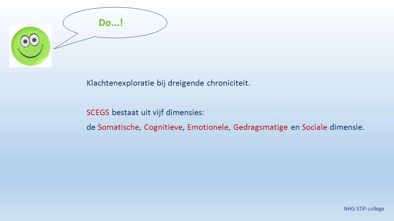 Klachtenexploratie bij dreigende chroniciteit. SCEGS bestaat uit vijf dimensies: de Somatische, Cognitieve, Emotionele, Gedragsmatige en Sociale dimen