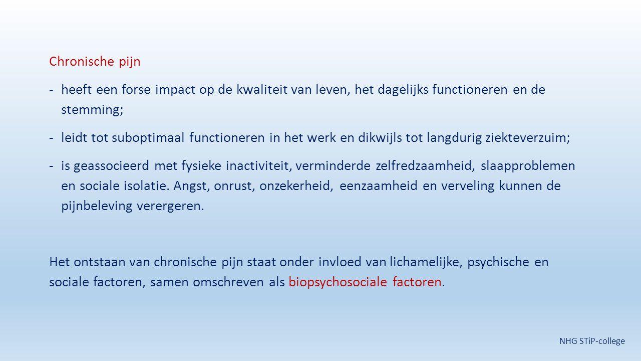Chronische pijn -heeft een forse impact op de kwaliteit van leven, het dagelijks functioneren en de stemming; -leidt tot suboptimaal functioneren in h