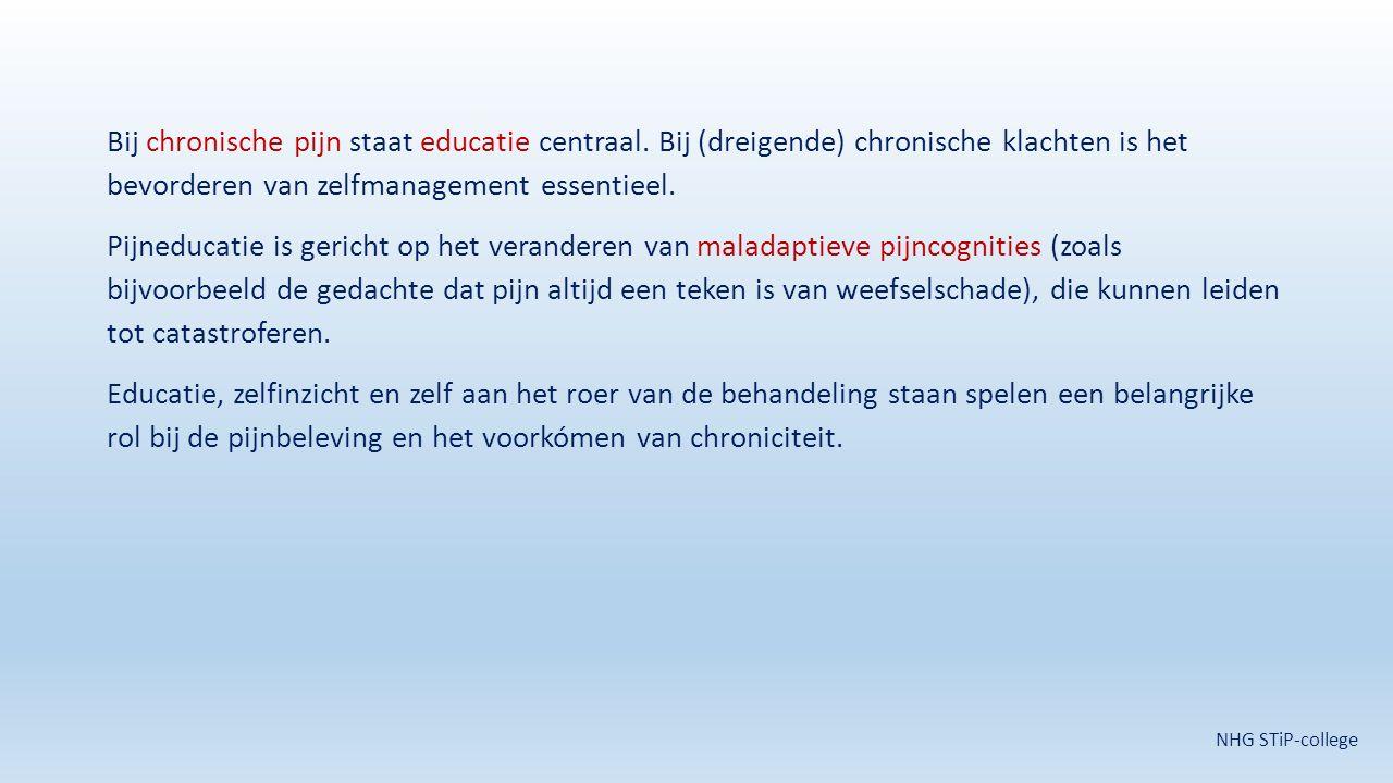 Bij chronische pijn staat educatie centraal. Bij (dreigende) chronische klachten is het bevorderen van zelfmanagement essentieel. Pijneducatie is geri