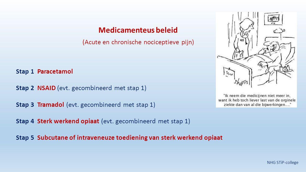 Medicamenteus beleid (Acute en chronische nociceptieve pijn) Stap 1 Paracetamol Stap 2 NSAID (evt. gecombineerd met stap 1) Stap 3 Tramadol (evt. geco
