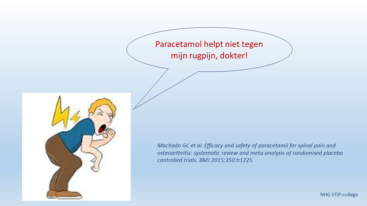Paracetamol helpt niet tegen mijn rugpijn, dokter! Machado GC et al. Efficacy and safety of paracetamil for spinal pain and osteoarthritis: systematic