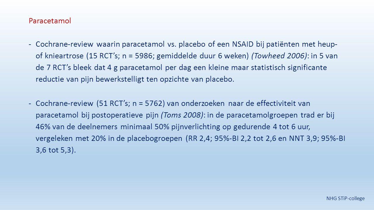 Paracetamol -Cochrane-review waarin paracetamol vs. placebo of een NSAID bij patiënten met heup- of knieartrose (15 RCT's; n = 5986; gemiddelde duur 6