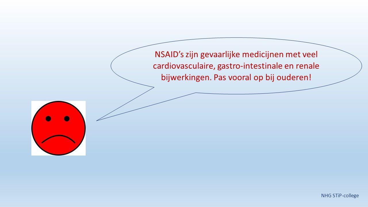 NSAID's zijn gevaarlijke medicijnen met veel cardiovasculaire, gastro-intestinale en renale bijwerkingen. Pas vooral op bij ouderen! NHG STiP-college
