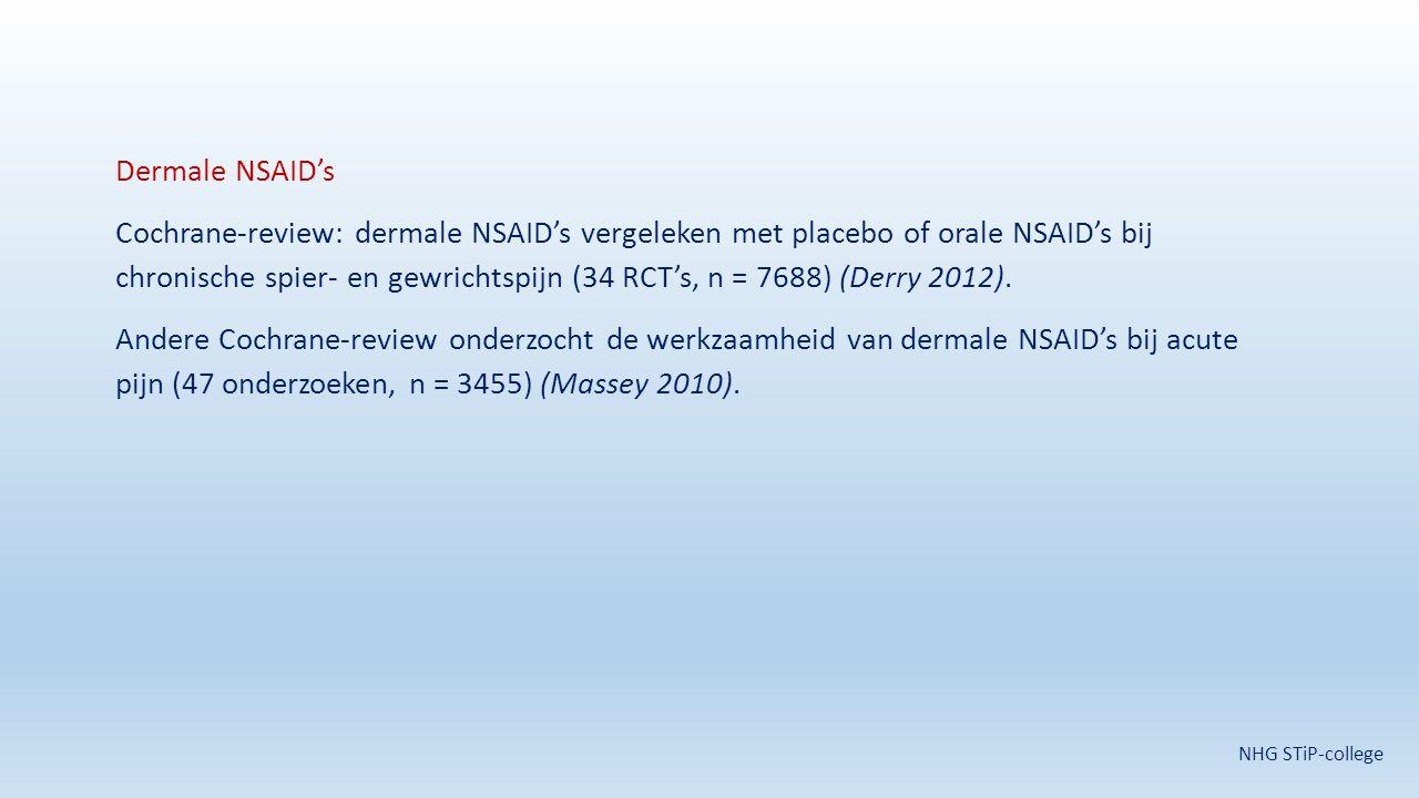 Dermale NSAID's Cochrane-review: dermale NSAID's vergeleken met placebo of orale NSAID's bij chronische spier- en gewrichtspijn (34 RCT's, n = 7688) (