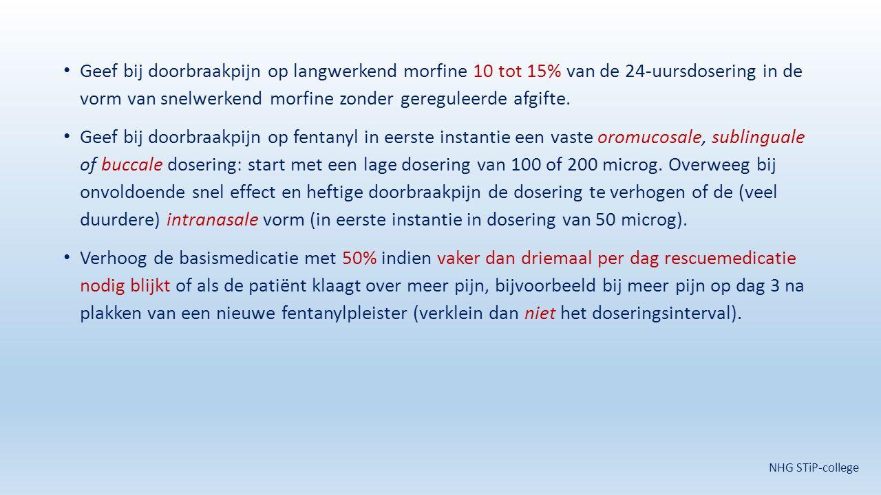 Geef bij doorbraakpijn op langwerkend morfine 10 tot 15% van de 24-uursdosering in de vorm van snelwerkend morfine zonder gereguleerde afgifte. Geef b